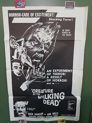 """1965 CREATURE OF THE WALKING DEAD 27""""x41"""" One Sheet Movie Poster MEXICAN HORROR"""