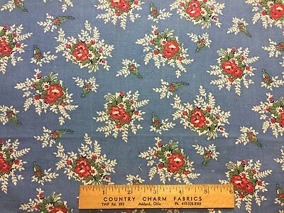 Vintage Cotton Feedsack Fabric 40s50s SWEET Blue & Red Bouquets EXC