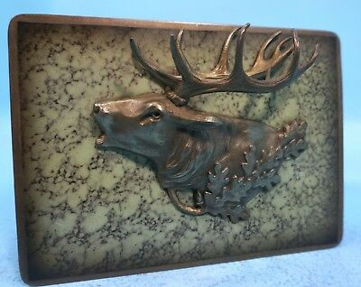 Vintage German Walnut Wood & Brass HUMIDOR Box Stag Hunt Motif Antler c1950
