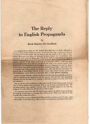Ww2 The Reply To English Propaganda By Dr Goebbels Letter Drop Leaflets Etc 1939