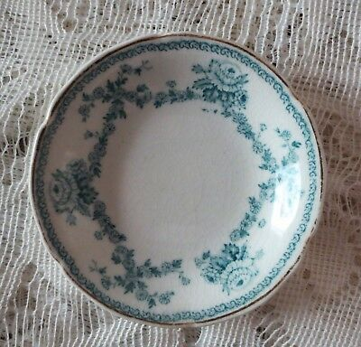 ANTIQUE BUTTER PAT Blue & White Transferware FLORAL ROSE PATTERN Gold Trim