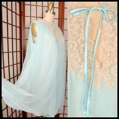 vtg 50s 60s ANTIQUE LACE BABY BLUE CHIFFON sheer baby doll layer NIGHTIE gown M
