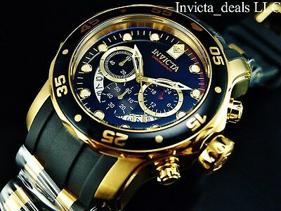 Invicta Mens 48mm Pro Diver Scuba Chronograph Black Dial 18K Gold IP SS Watch