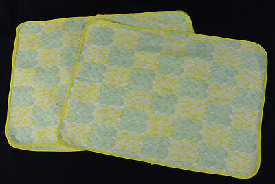 D. Porthault* Style Group of 4 Placemats in Yellow and Green