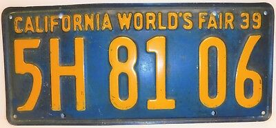 1939 California World's Fair License Plate