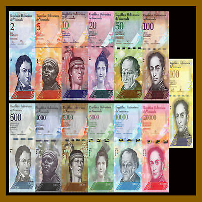 Venezuela 2 - 100000 (100,000) Bolivares (13 Pieces Pcs Full Set), 2007-2017 USE
