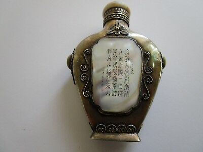 Antique Fine Old Chinese Snuff Bottle Sterling Silver With Signed Landscape Rare