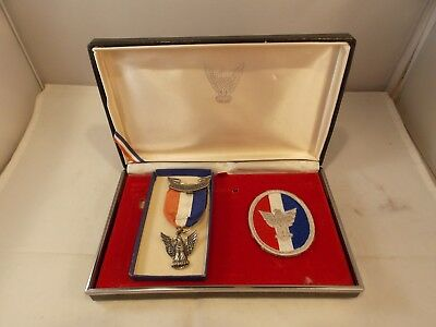 Vtg Boy Scout Sterling Eagle Badge & Patch, Orig Box, Pre-owned