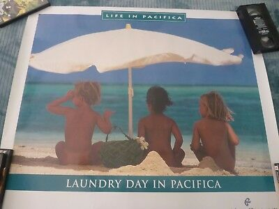 original  Air New Zealand Travel Poster (LAUNDRY DAY IN PACIFICA) 32 X 27 1/2
