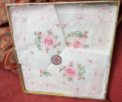 boxed unused hand embroidered handkerchiefs