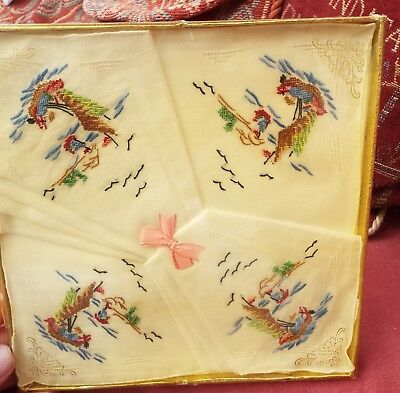 boxed unused hand embroidered handkerchiefs chinese junks