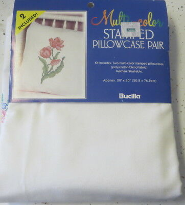 Stamped to Embroider Pillowcases Pair TULIPS Bucilla Cotton Blend