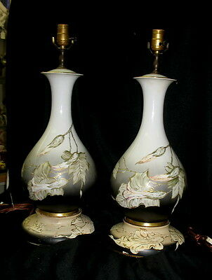 fabulous pair hand painted signed rosenthal / german  porcelain table lamps RARE
