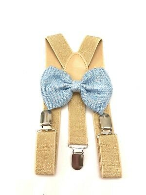 Suspender and Bow Tie gold Baby Toddler Kids Boys Girls Child SETS USA seller 2