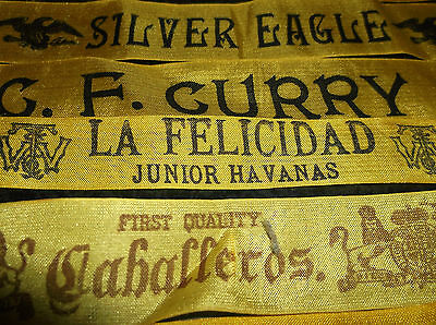 Random  Lot Of 6  Antique Advertising Silk Cigar Band Ribbons For Rare Quilts!!