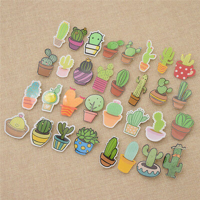 Cute Cactus Succulent Plants Acrylic Brooches Pin Badge for Backpack Decoration