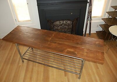 """Historic Wood and Steel """"Baking"""" Table with Racks for Hanging Tools and Storage"""