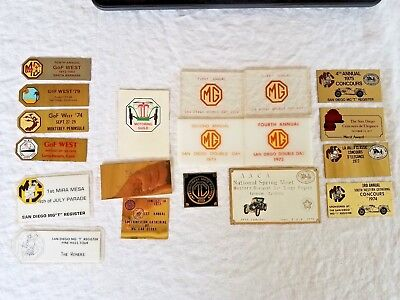 19 MG Plaques, 1972-1979 Concours, Double Day, Spring Meet San Diego