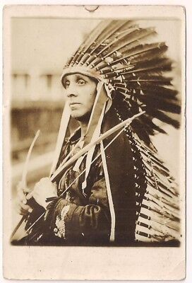 Chief Ousa Mekin Yellow Feather Wampanoag Signed With Feather Drawing on Back