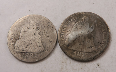 1875+1887 Seated Liberty Dime Lot // 2 Coins // (DL55)