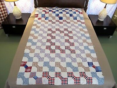 NARROW Vintage Hand Pieced Nice Cottons BOW TIE Quilt TOP, One Novelty, Good !