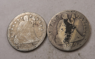 1853+1889 Seated Liberty Dime Lot // 2 Coins // (DL51)