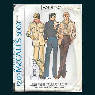 Halston Vintage Pattern McCALL'S 5009 Men's Shirt-Jacket and Pants Size 38