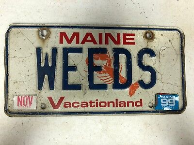 1999 MAINE Vacationland License Plate WEEDS Marijuana Stoner 420