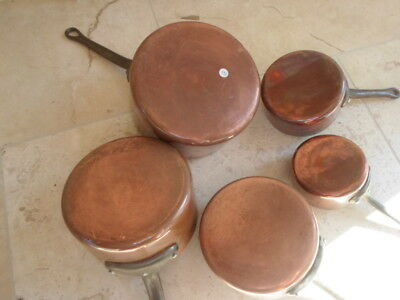 Vintage French set of 5 graduated copper clad pans, tin lined iron handles 2.5kg