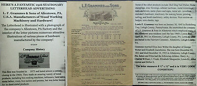 L. F. Grammes & Sons Woodworking Hardware Photo Advertising Letter Document 1916