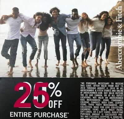 25% ABERCROMBIE Coupon code 25% exp 8/31 Valid Clearance Sale