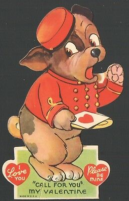 Vintage Valentines Card Cute Bell Hop Messenger Dog Delivering Heart Card onTray