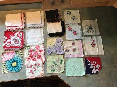 Exquisite Lot of 18 Vintage Ladies Handkerchiefs Floral Embroidered Linen Cotton