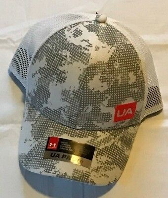 detailed look fb3a9 e94ce New Under Armour Snapback Golf Hat White one size fits all UA Pro Fit Gray  Camo