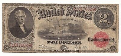 Two dollar, $2.00  Series 1917 Red Seal, paper currency, complete, circulated, F