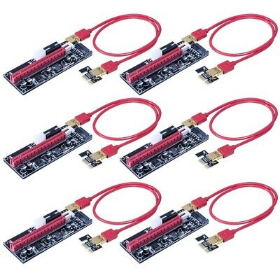 6x PCI-E 16x to 1x Powered Riser GPU Adapter Cable USB Ethereum Crypto Mining