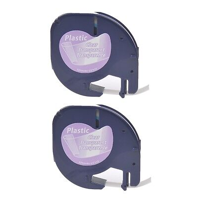 2PK Plastic Label Maker Tape for DYMO Letra Tag 16952 12267 Black on Clear 1/2""