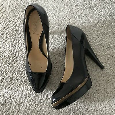 YSL Black Patent Leather Pumps Sz 40 Platform Heels Yves Saint Laurent Bronze