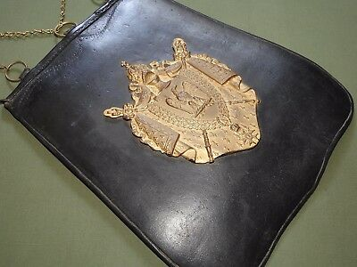 French Napoleonic GRAND ARMEE OFFICER LEATHER + BRASS SABRETACHE Antique RARE