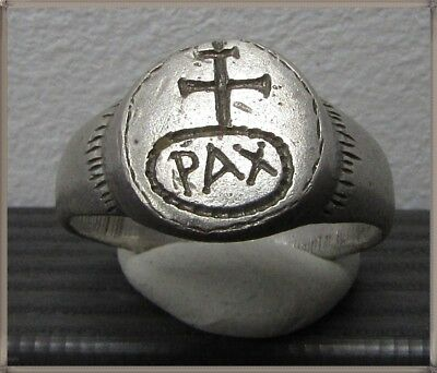 Ancient Silver Byzantine Ring** CROSS **PAX**