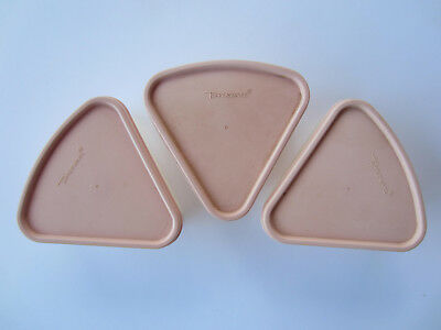 Lot of 3Tupperware Modular Mates Pie Shape/Wedge Storage Container w/Pink Lid