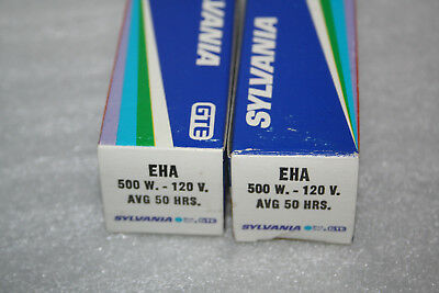 Lot of two EHA Sylvania Projector Lamps Bulbs - 500W, 120V - NOS