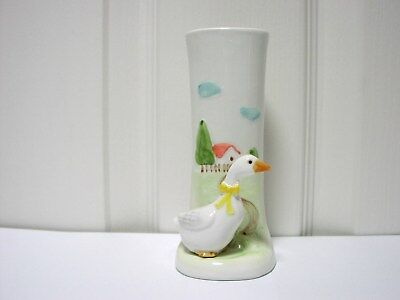 Vtg Otagiri Goose/Duck Farm Bud Vase 1983 Japan Hand Crafted Mint Condition