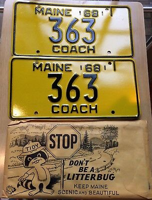 Vintage NOS Maine 1968 Coach License Plates Low Number #363 MINT