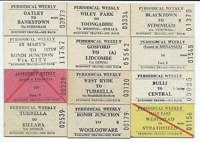 12 Different NSW Weekly Tickets inc Bulli,Menangle,Teralba,Wiley Pk,Oatley,WRyde