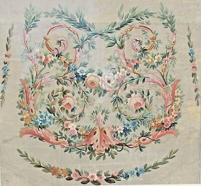 Antique Tapestry French Aubusson Floral Cartoon