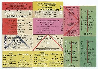 12 Different NSW Tickets inc Orange, Kingsgrove,Booragul,Civic,Emu Plains,125 yr