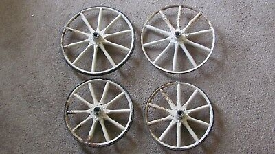 "Antique Wooden Spoke Wheels Carriage/Cart Set of 4 Wagon 10"" AND 12"""