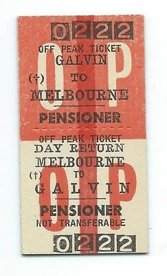 GALVIN - MELBOURNE Pensioner Off Peak Ticket