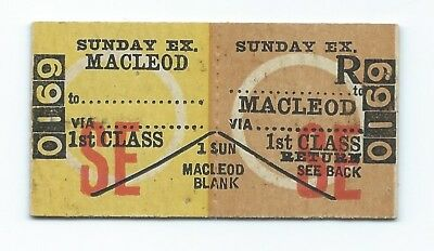 MACLEOD 1st Class Sunday Excursion Ticket